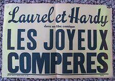 ANCIENNE AFFICHE CINEMA LAUREL ET HARDY LES JOYEUX COMPERES