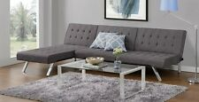 Futon Sofa Set Gray Linen Couch Chaise Lounge Sleeper Full Bed Convertible Room