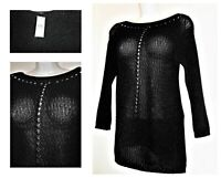 New Cotton Rich Papaya Black Open Stitch Knitted SPARKLY Jumper Size Small 8-10