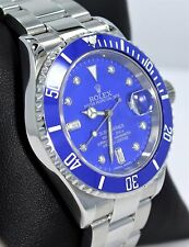 Rolex Submariner 16610 Steel Blue Bezel Diamond Dial Watch MINT FULLY SERVICE!