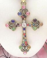 BETSEY JOHNSON BEAUTIFUL CRYSTAL INLAY COLORFUL CROSS  PENDANT CHAIN NECKLACE