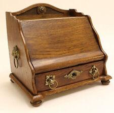 Antique French oak wood Letter holder cabinet desk lion brass ornaments Rare