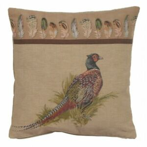 Pheasant Bird Feathers Country Style Woven Tapestry Cushion Cover (Cover Only)