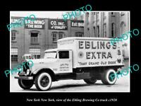 OLD LARGE HISTORIC PHOTO OF NEW YORK, NEW YORK, THE EBLING BREWERY TRUCK c1920