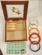"""12 Pierced Earrings 6 Bracelets LOT in 6"""" Faux Stained Glass Wooden Jewelry Box"""