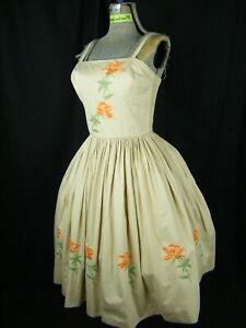 Vtg 50s Khaki 100% Cotton Swim Sun Dress w/Orange Floral Embroidery-Bust 30-35