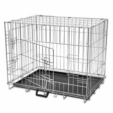 vidaXL Foldable Dog Kennel M Metal Puppy House Carrier Crate Enclosure Playpen