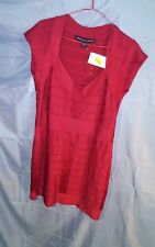 French Connection V- Neck Cap Sleeve Bandage Dress Red sz 12 NWT