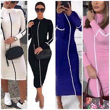 Womens Long Sleeve Bodycon Dress Ladies High Neck  Party Slim Midi Dress