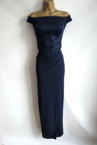 Lipsy navy bardot bodycon MAXI dress size 12