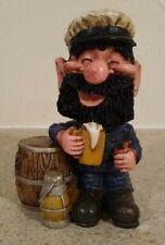 "Drunk Bearded Village Man On Beer Barrel Figurine 4"" Tall"