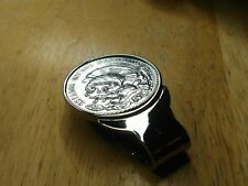 Cactus Stainless MoneyClip. Extreme Shine! 1947 Mexican Silver Peso Eagle Snake