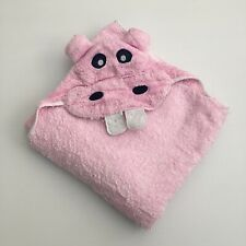 Baby Girl Hooded Bath Towel Hippo Design
