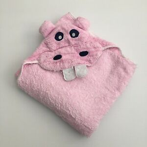 Baby Hooded Bath Towel Hippo Design 102cm x 90cm
