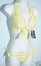 HOTKISS Swimsuit Size S 2-PC Embellished Ruffles Halter Bikini Set NWT $96