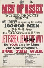 WW1 RECRUITING POSTER BRITISH ARMY  MEN OF ESSEX REGIMENT NEW A4 PRINT