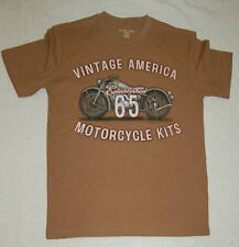 Mens VINTAGE AMERICA MOTORCYCLE KITS Graphic T Tee Shirt Small 34-36 Odd Brown