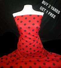 Cotton Print Red Black Polka Dot Spots Dress-making Crafts Fabric Material