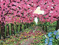 ORIGINAL Oil Painting Stretch Canvas 18 x 14 CHERRY BLOSSOMS Art by Angela