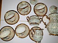 Servizio da caffè/the in Porcellana Placcato in Oro Bavaria anni 50 - 5 Persone