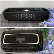 Longaberger Pottery Woven Reflections Black Rectangle Serving Baking Dish 12 X 6
