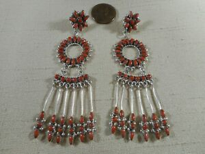 LONG Zuni NATURAL coral cluster earrings with dangles by MILBURN DISHTA