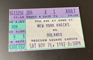 11/21/92 8th Career Game Ticket Stub Shaquille O'Neal Rookie Yr Magic Vs Knicks