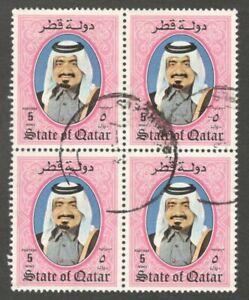 AOP Qatar #658 1984 Shaikh Khalifa 5d used block of 4 $23
