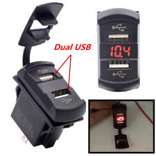 12V red LED Rocker Push Switch Style Car Marine Boat Voltmeter Dual USB Charger