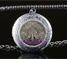 Celtic Wolf Tree Of Life Glass Tibet Silver Chain Locket Pendant Necklace#F74
