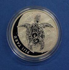 2012 Fiji 1oz 0.999 silver 2 $Turtle pièce dans capsule (V9/44)