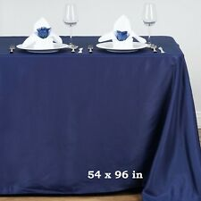 "Navy Blue POLYESTER 54x96"" RECTANGLE TABLECLOTHS Wedding Party Catering Linens"