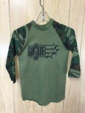 Vintage 80s GI Joe T-Shirt Baseball Green Camo Raglan 14-16 USA NOS
