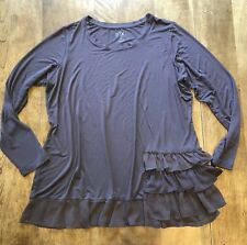 LOGO by Lori Goldstein Taupe L/S Tunic Shirt Top Plus Sz 1X Side Tiered Ruffle
