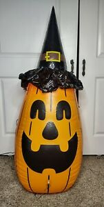 Inflatable Halloween Decoration Lighted Pumpkin Witch Monster 4 Ft w/ foot pump