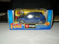 BURAGO STREET FIRE VOLKSWAGON GOLF  1:43 DIE CAST MODEL IN METALLIC BLUE