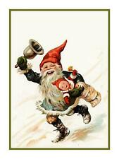 Elf Gnome Ringing a Bell Jenny Nyström Counted Cross Stitch Chart Pattern