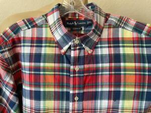 RALPH LAUREN Men's Multi Checked Classic Short Sleeve Dress Shirt Size XL **