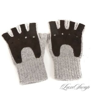The Mens Store Bloomingdales Grey Cashmere Espresso Suede Fingerless Gloves S/M