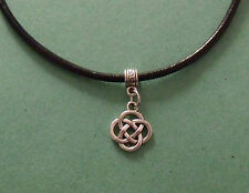 Black Leather Choker Necklace with Infinity Celtic Knot Charm - New - UK Seller