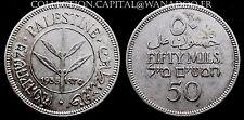 Rare Palestine 50 Mils 1935 Argent/Silver Qualité SPL