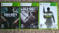 Xbox 360 Call of Duty lot: Black Ops I & II + MW3, completes, free shipping