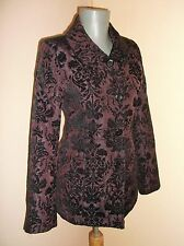 Goth Steampunk Baroque deep PURPLE PLUM jacquard fitted JACKET COAT Small 8 UK