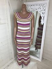 ESCADA Striped Fuchsia & Yellow Maxi Dress Size 12 Excellent Condition