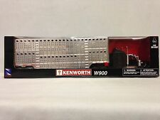 Kenworth W900 w/ Chrome Pot Belly Livestock Trailer,1:43 Diecast, New Ray Toy,BK