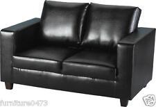 Black Faux Leather 2 Seater Sofa W140cm x D75cm x H84cm TEMPURA