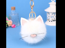 🔑NWT KITTY Faux Fur Keychain Pom Pom Key Ring Purse Charm 👛