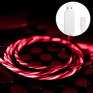 LED Flowing Light up TypeC/Micro USB Charging Cable for iPhone Android
