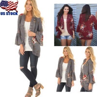 Hot Womens Loose Floral Kimono Cardigan Lace Blouse Tops Jacket Coat Outwear USA