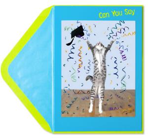 """Celebrate Happy Achievement"" LENTICULAR GRADUATION CARD Leaping Cat PAPYRUS"